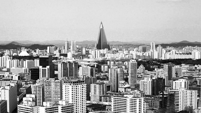 Pyongyang city skyline black and white